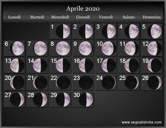 Calendario Lunare Ottobre 2020.Calendario Lunare 2020 Fasi Lunari