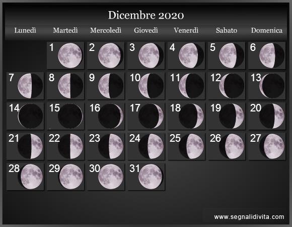 Calendario Novembre 2020 Con Santi.Calendario Lunare 2020 Fasi Lunari