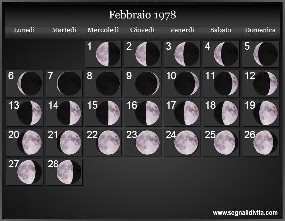 1978 Calendario.Calendario Lunare 1978 Fasi Lunari