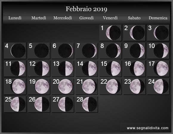 Capelli Calendario Lunare.Calendario Lunare 2019 Fasi Lunari
