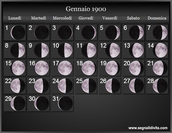 Calendario 1900.Calendario Lunare 1900 Fasi Lunari
