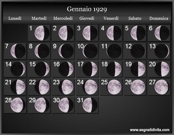 Calendario 1929.Calendario Lunare 1929 Fasi Lunari