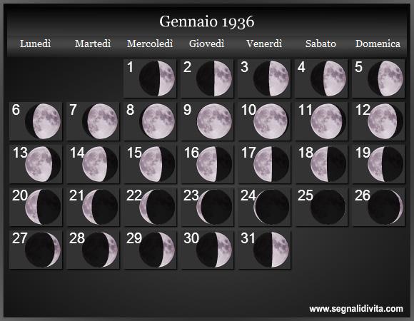 Calendario 1936.Calendario Lunare 1936 Fasi Lunari