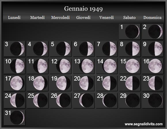 Calendario 1949.Calendario Lunare 1949 Fasi Lunari