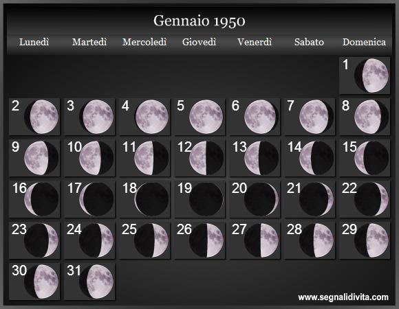 Calendario 1950.Calendario Lunare 1949 Fasi Lunari