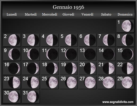 Calendario Lunare 2020 2020.Calendario Lunare 1956 Fasi Lunari