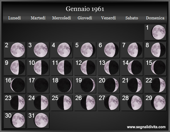 Calendario Del 1961.Calendario Lunare 1961 Fasi Lunari