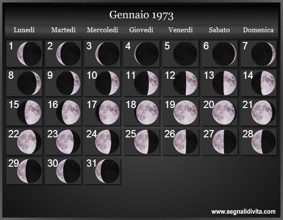 Calendario 1973.Calendario Lunare 1973 Fasi Lunari