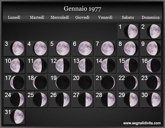Calendario Del 1977.Calendario Lunare 1977 Fasi Lunari