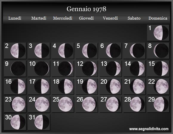 Calendario De 1978.Calendario Lunare 1978 Fasi Lunari