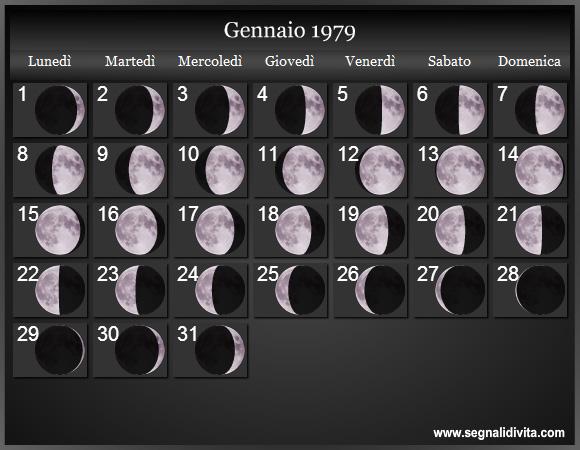 Calendario Del 1979.Calendario Lunare 1979 Fasi Lunari