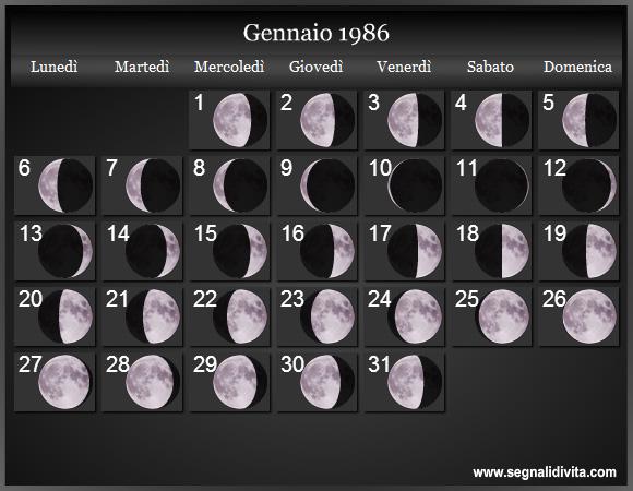Calendario Lunare Segni Zodiacali.Calendario Lunare 1986 Fasi Lunari