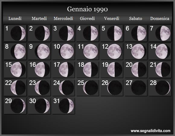 1990 Calendario.Calendario Lunare 1990 Fasi Lunari