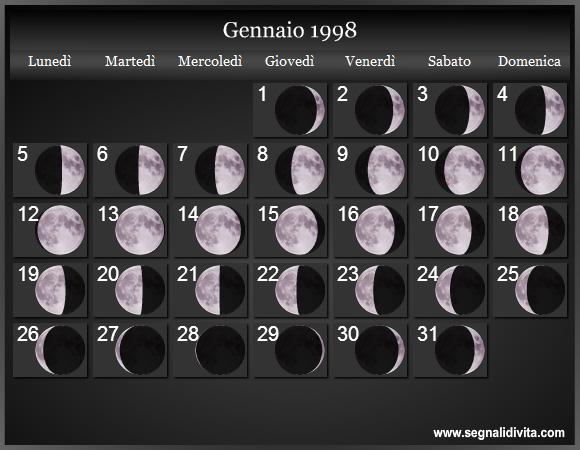 1998 Calendario.Calendario Lunare 1998 Fasi Lunari