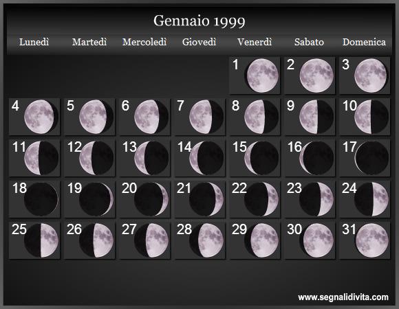 Calendario 31 Luglio.Calendario Lunare 1999 Fasi Lunari