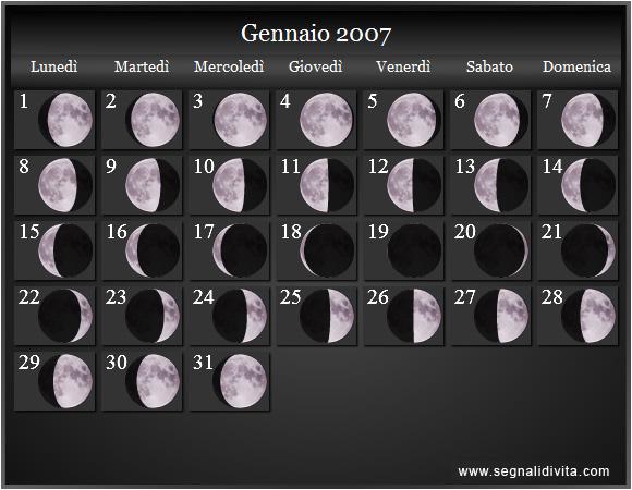 Calendario Settembre 2007.Calendario Lunare 2007 Fasi Lunari
