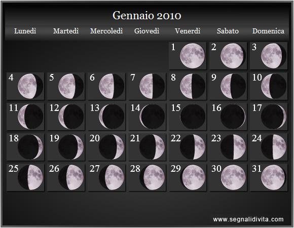 Calendario Lune Gravidanza.Calendario Lunare 2010 Fasi Lunari