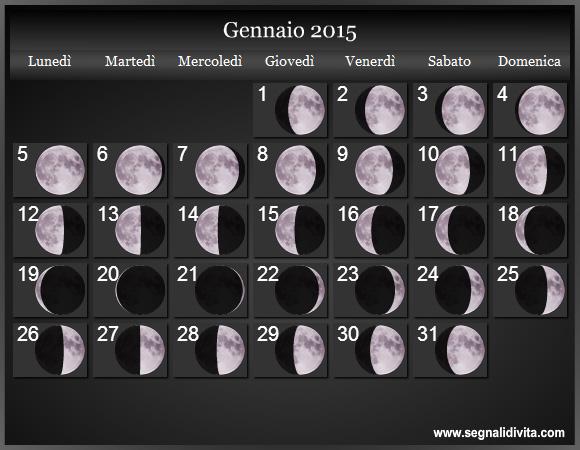 Calendario Lunare Gravidanza 2020.Calendario Lunare 2015 Fasi Lunari