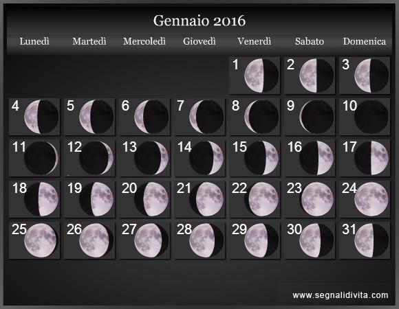 Calendario Lunare Gravidanza 2020.Calendario Lunare 2016 Fasi Lunari