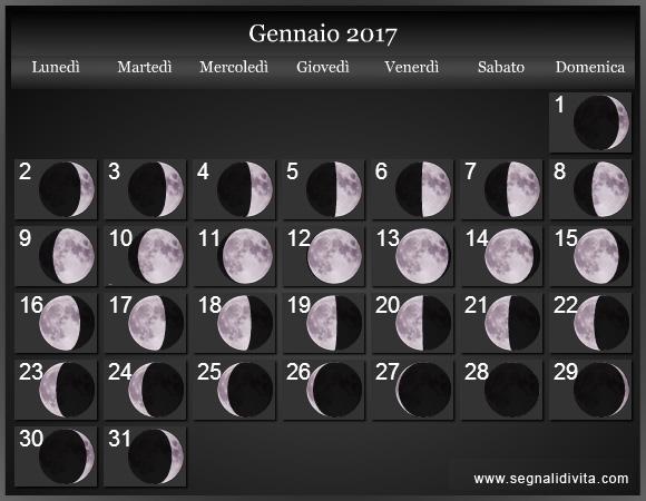 Calendario Lune.Calendario Lunare 2017 Fasi Lunari
