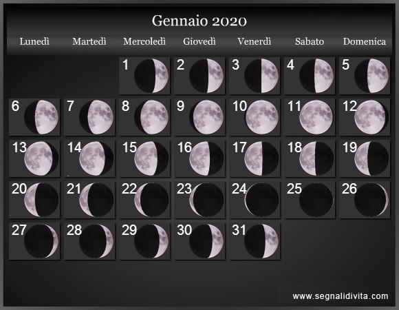 Calendario Gennaio 2020.Calendario Lunare 2020 Fasi Lunari