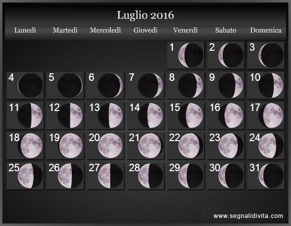 Calendario Lunare Per Capelli.Calendario Lunare 2016 Fasi Lunari