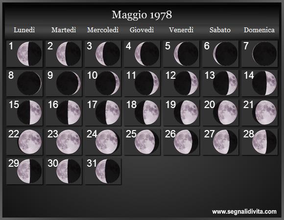 Calendario Lunare Maggio.Calendario Lunare 1978 Fasi Lunari