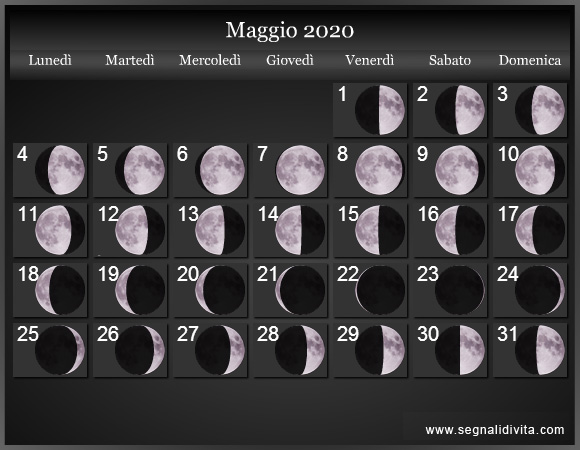 Calendario Mese Di Maggio 2020.Calendario Lunare 2020 Fasi Lunari