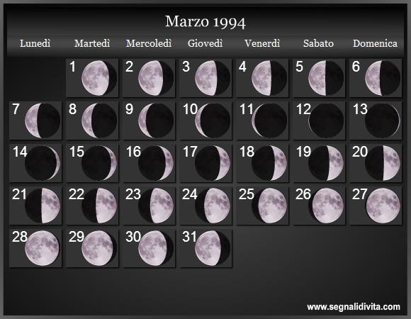 Calendario Lunare Marzo.Calendario Lunare 1994 Fasi Lunari