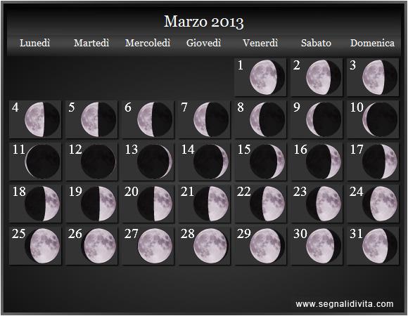 lunari del 2013. Calendario Luna. Calendario con fasi lunare del 2013