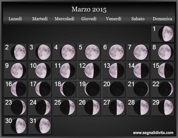 Le fasi lunari del 2015. Calendario Luna. Calendario con fasi lunare ...