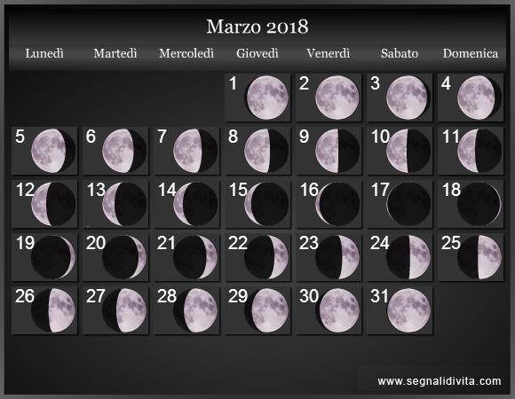 Calendario Anno 1980.Calendario Lunare 2018 Fasi Lunari