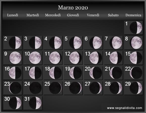 Calendario Di Maggio 2020.Calendario Lunare 2020 Fasi Lunari