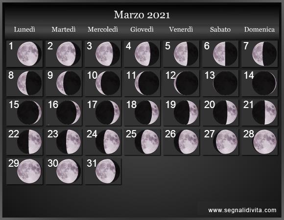 Calendario Lunare 2021 :: Fasi lunari