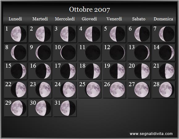 Calendario Luglio 2007.Calendario Lunare 2007 Fasi Lunari