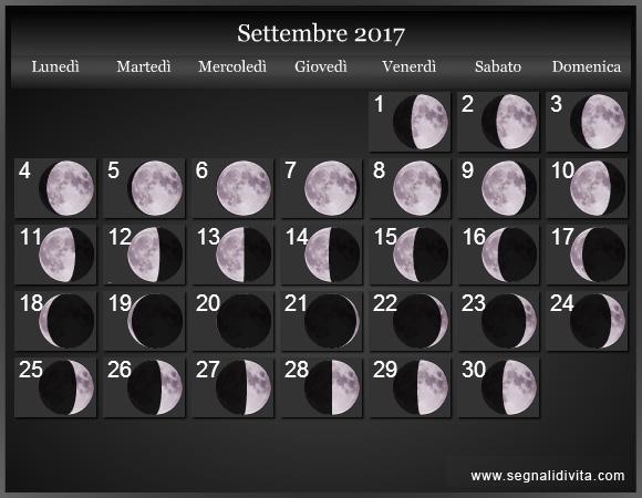 Calendario Lunare Dicembre 2017.Calendario Lunare 2017 Fasi Lunari