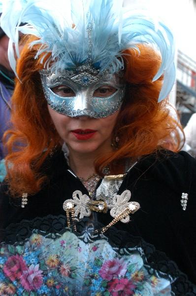 Maschera con piume blu - Carnevale di Venezia